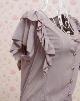 женская шифон майка с V-образным вырезом комбинезон комбинезон сладкий falbala с оборками с коротким рукавом футболка бесплатная доставка, прямая поставка 128