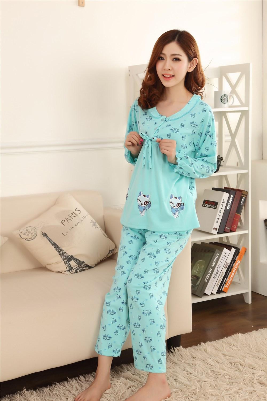 бесплатная доставка новинка весна и осень с длинным рукавом хлопок платье для беременных мама носите пальто брюки костюм прекрасный кошка пижама