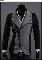 бесплатная доставка мужская пиджаки стильный премиум свободного покроя нерегулярные молнии куртки сельма зима костюмы м-XXL черный серый xz76 прямая поставка