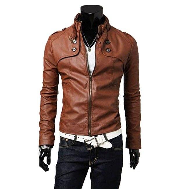 Leather Fit New Zipper Designed Hot Men's Pu Jacket Slim Stylish qw8ORaxU4