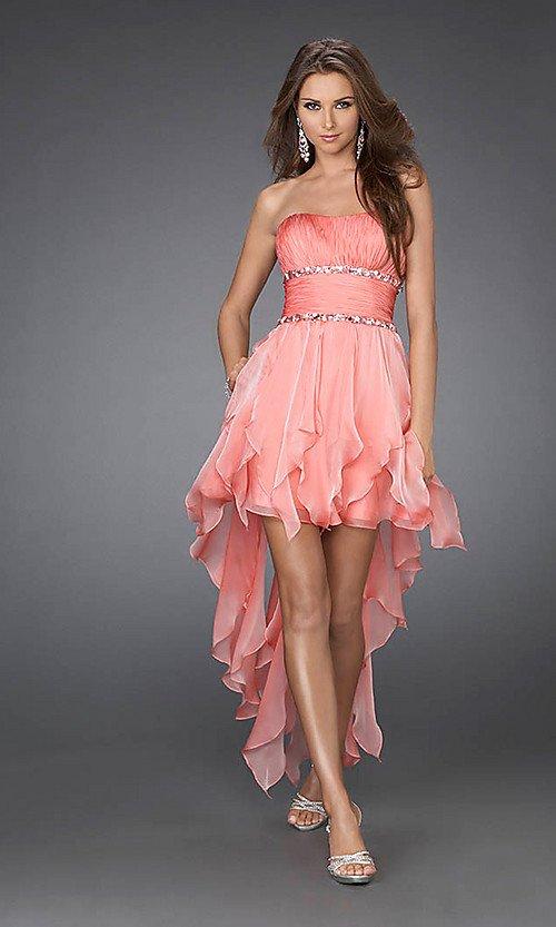 2012 Hot Fashion Strapless Sequin Beaded Designer Open Back Chiffon Hi-Lo Cocktail Dresses  OC33089
