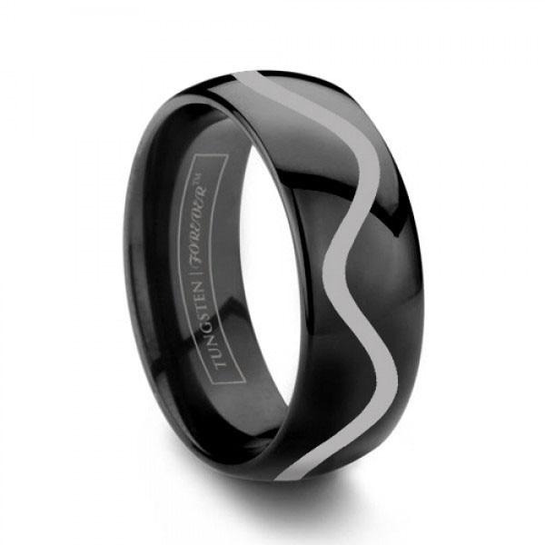 Legend Of Zelda 8 Bit Hearts Black New Tungsten Wedding Ring
