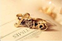 мода новое поступление горячая распродажа бронзовый горный хрусталь в форме сердца - в форме любовь двойного кольца п19