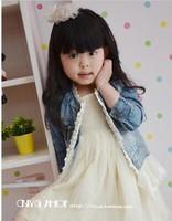 5 шт./лот новый весной новорожденных девочек мода кружева джинсовая куртка / пальто детей и пиджаки одежда, пальто джинсы детская, верхняя одежда