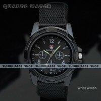 бесплатная доставка, новинка спорт на открытом воздухе кварцевые часы, ткань ремень, черный циферблат, часы оптовая продажа и розничная