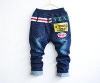 новые дети мода брюки мягкие жан ткань мальчика джинсы дети письмо брюки брюки b090