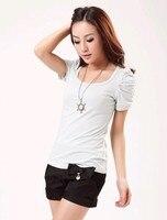 лето женщины футболки лепесток - хлопок рубашка Recover стоит-жарко женское рукав-буф топы Splash цвет футболки