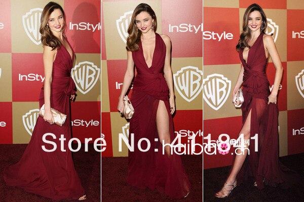 משלוח חינם 2015 הגעה החדשה מירנדה קר צווארון וי עמוק יין אדום בצד שסע סקסי שמלת ערב סלבריטאים להתלבש