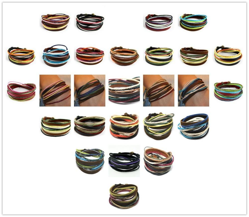 C316 2018 hot sale Fashion Surfer Hemp Leather Multi Wrap Bracelet Mens Womens Handmade Wristband Friendship Gift Free Shipping 1