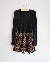 осень / зима женская винтаж мода с длинным рукавом милый вето распечатать Подольского эластичного wit Rico платье-свитер