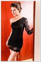 бесплатная доставка моды сексуальная 2016 женщины один рукава кружева мини платья клубные один размер ann2384, черный