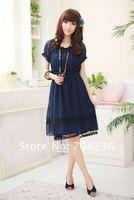 бесплатная доставка шифоновое платье новый лето высокая мода с коротким рукавом горячая распродажа женская одежда опт и розница ioeoi9028