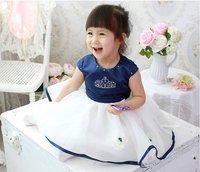 королевский синий платье принцессы / девочка корона платье / девушка с ди Recover бал платье