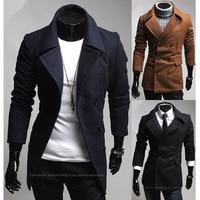 cc205 # Салют человек двубортный с эмаль тонкая шерстяная куртка мужчины зима теплая горох плащ