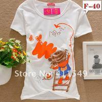 женщины 95% хлопок с круглым вырезом короткий рукав футболки приталенный грунтовки рубашка топы верхняя одежда