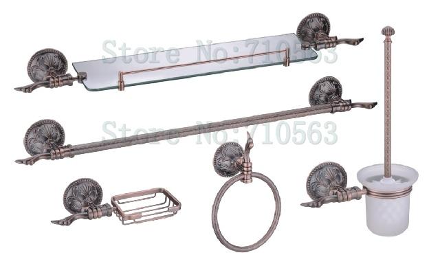 New Arrival Antique Copper Bathroom Accessories Set,Towel Bar/Rack,Glass  Shelf