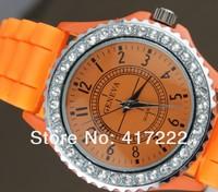 бесплатная доставка! 10 шт./лот новинка женева и кварцевые часы дамы бренд часы желе часы для женщин и мужчин смешивать цвета