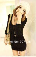 лучшие продажи! новый женщин симпатичные ватки с длинным мини платья + бесплатная доставка 1 шт