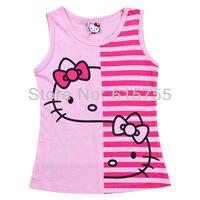 горячая, детская одежда 6 шт./лот привет-котенок девушки майка полосой топы летняя одежда мода с коротким рукавом одежда красный