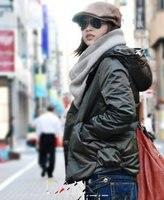 бесплатная доставка fashionstyle элегантный с капюшоном чистый цвет пальто армия зеленый zx12091406-1
