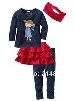 в наличии горячая распродажа девочек детская одежда с ди Recover свободного покроя костюм 4 шт. бесплатная доставка