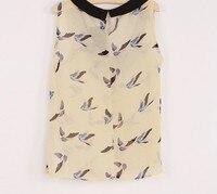 шифон блузка женщины рубашка птица печать блузы без рукавов женское воротник питер полиэтиленн верхний женщины одежда