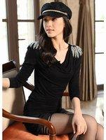 оптовая продажа дешевые женщин рюшами блузка хлопок материал с длинным рукавом стиль цветок на плечо украшены чистой топы, бесплатная доставка