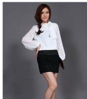 весна женская большой размер lockout но если блузка проезд рукава топ черный, белый s-Размер 4xl! для большой женщин