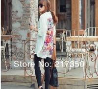 бесплатная доставка улица мода ретро цветы печать дизайн новинки больше для женщин весна лето блузка новая модель футболка