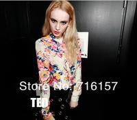 элегантный европа стиль женщины в дамы свободного покроя цветок пользователь длинный рукав блузка рубашка