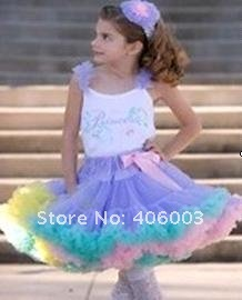 wholesale nylon fluffy rainbow pettiskirts and tutus