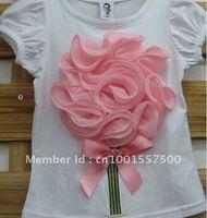 оптовая продажа стерео цветы детская одежда девушки Gel вершина рубашки бесплатная доставка 7 цветов, можно выбрать
