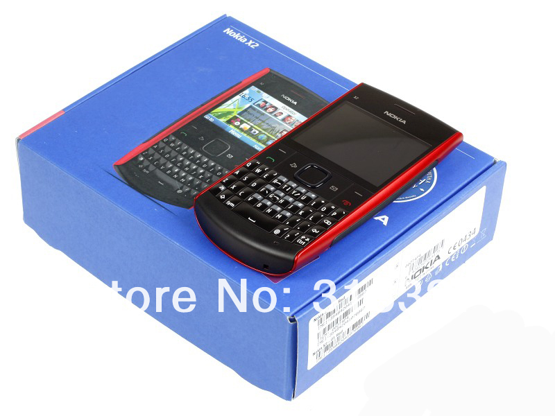 Refurbished phone Nokia X2-01 Symbian OS Computer Keyboard Mobile Phone Fashion Cell Phones blue 15