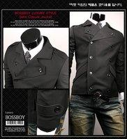 шикарных людей с двойным рядом пуговиц с коротким черный пиджак сша размер S / м / L / хl
