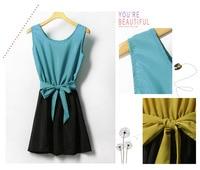 хиты распродажа бросился бесплатная доставка район женская синий элегантный знатных цвет блок украшения шифон ремень цельный платье