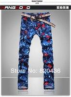 джинсы мужской тонкий цветной рисунок тонкий джинсы для мужчин печатным рисунком холодных людей джинсовые брюки бесплатная доставка