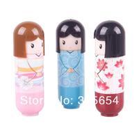 горячая распродажа 3 шт. симпатичная девочка бальзам для губ помада кукла бальзам для губ прекрасный # 49