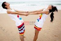 из два брюки радуга узоры пару пляж брюки женщины / мужчины брюки
