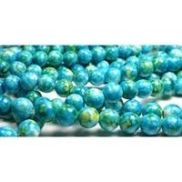 10 мм камень дождя цветок океан нефрита круглый камень бусины - 15.5 дюймов цепь - синий, зеленый, желтый
