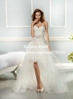 привет-лоу свадебное платье из органзы пояса из бисера съемный кружевной топ милая короткие передние долго назад бесплатная доставка th1869