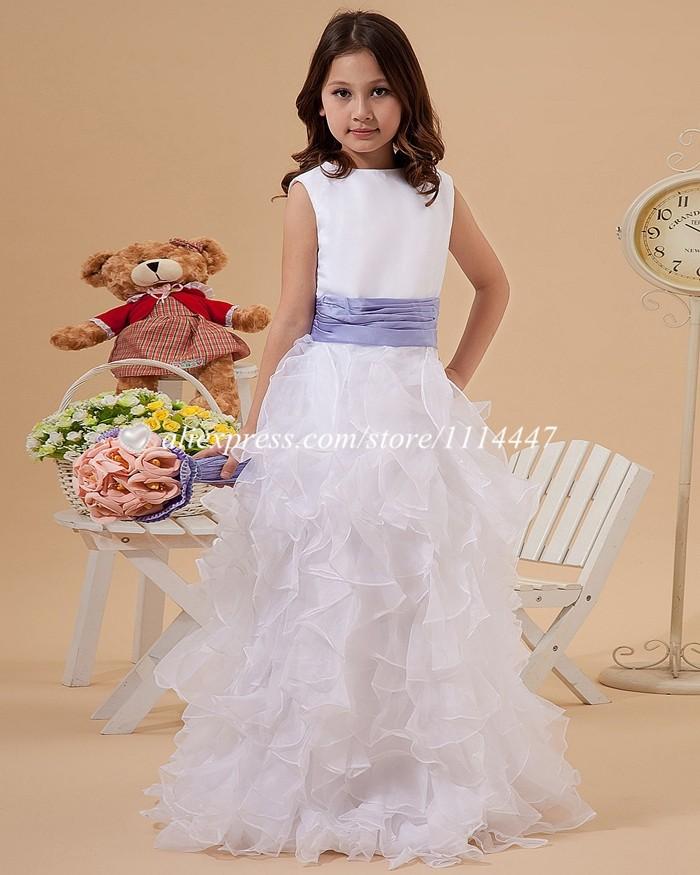 новые бестселлеры бесплатная доставка на заказ платье-линии совок без рукавов из органзы белый цветок платье для девочки с оборками # fd14