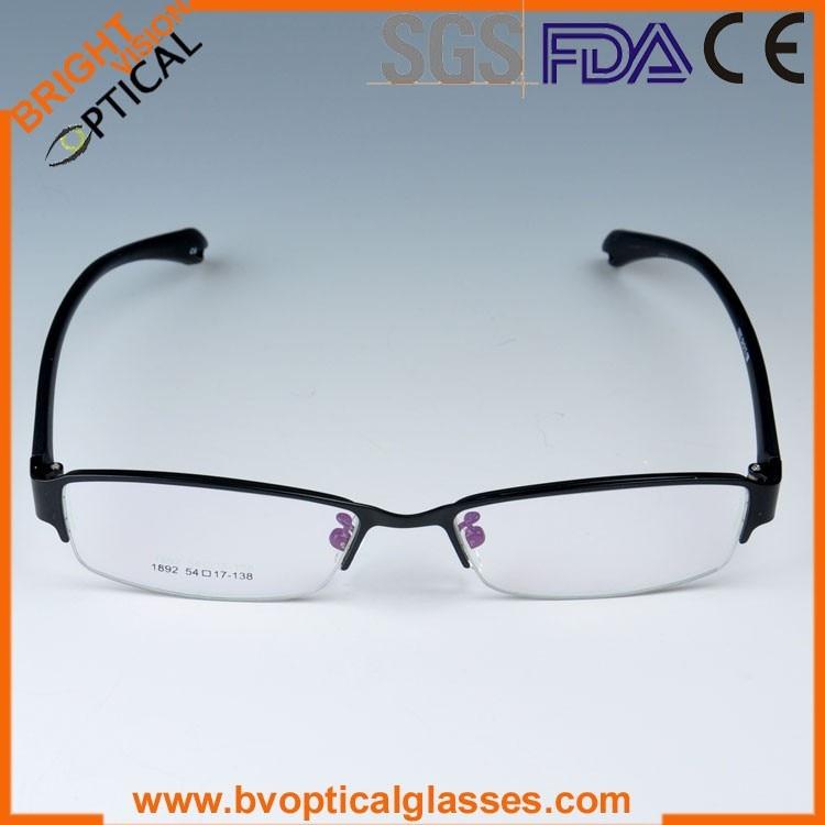 1892blackfront Fashionable half rim imprinted metal optical eyeglasses frame with TR90 temples