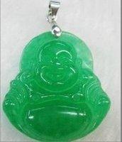 китай пекин красивая зеленый нефрит будда ожерелья с подвеской