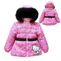 в розницу мода ребенок зимняя куртка куртки для девочек дети привет котенок 100% хлопок плюс бархат теплое пальто девушки пуховик