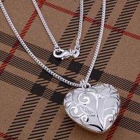 925 ожерелье! классический модель сердца декор циркон коробка цепочки ожерелье ювелирные изделия n224