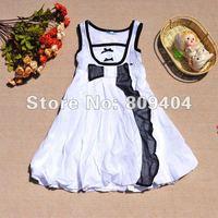 """sunlun девочки """" платье из хлопка / высокая Tale / с группа украшения / белый / розовый / новое постулат / бесплатная доставка"""