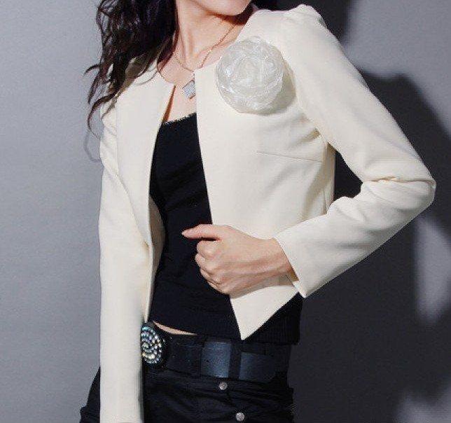 White Blazer outerwear tweed knit short jacket Womens Lady Fashion ...