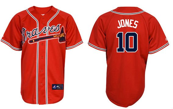 Atlanta Braves  10 Chipper Jones jerseys Baseball Jersey Red Color ... 57576f045caf