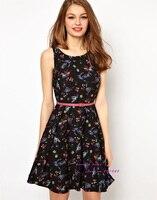 платье, настоящее fashionwomen цветок и птица животное красивая элегантный приталенный ошейник с ремень ds2100