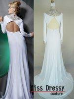 праздник реальный образец великолепная оболочка высокая шея с длинным рукавом шифон платья новый ну вечеринку мода с кристаллы